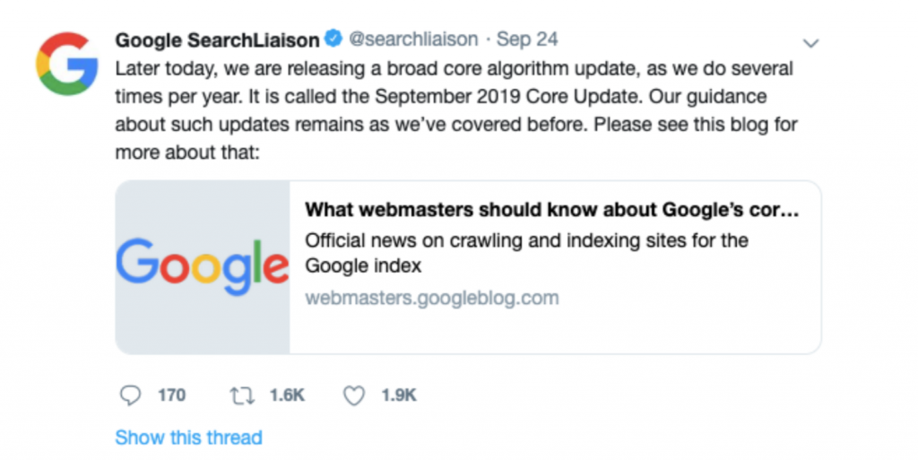 google-tweet-regarding-2019-algorithm-update